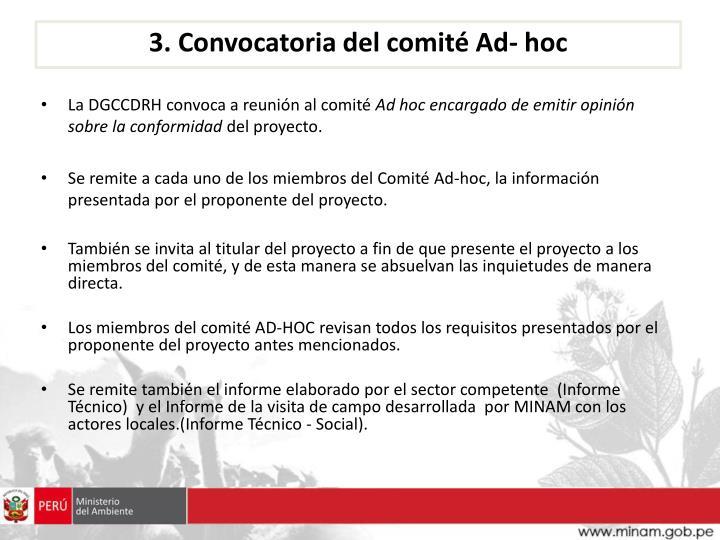 3. Convocatoria del comité Ad- hoc