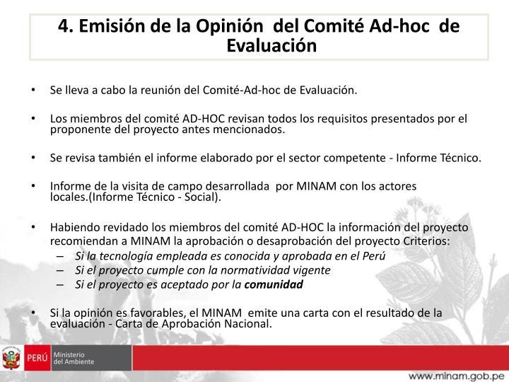 4. Emisión de la Opinión  del Comité Ad-hoc  de Evaluación