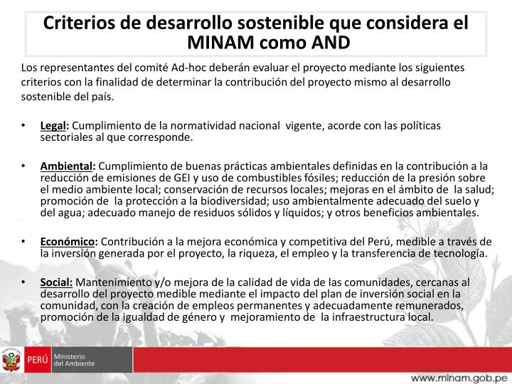 Criterios de desarrollo sostenible que considera el MINAM como AND
