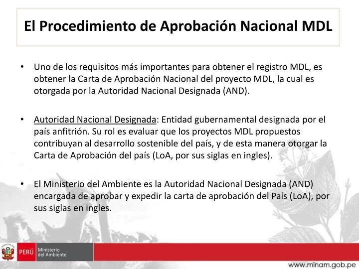 El Procedimiento de Aprobación Nacional MDL