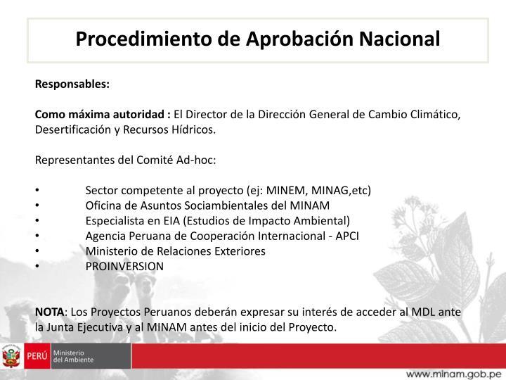 Procedimiento de Aprobación Nacional