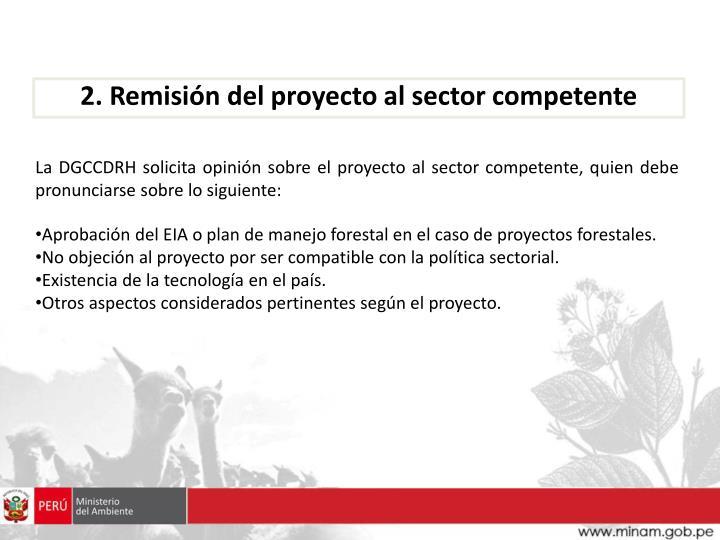 2. Remisión del proyecto al sector competente