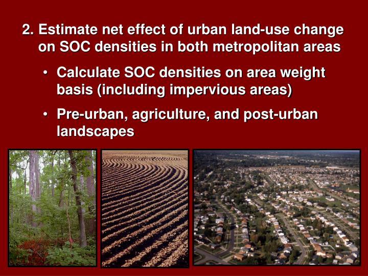Estimate net effect of urban land-use change on SOC densities in both metropolitan areas