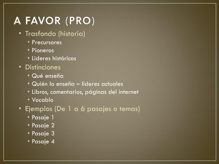 A FAVOR (PRO)
