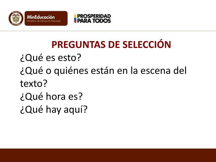 PREGUNTAS DE SELECCIÓN