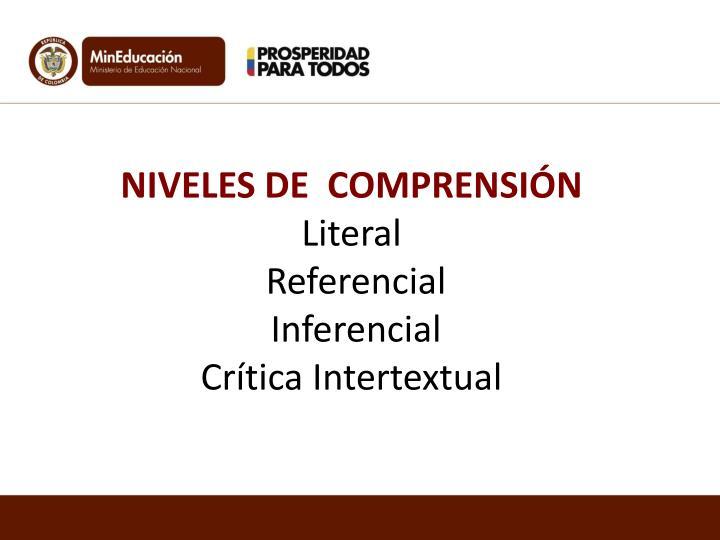 NIVELES DE  COMPRENSIÓN