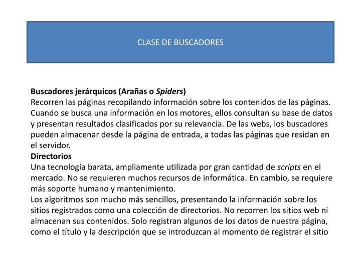 CLASE DE BUSCADORES