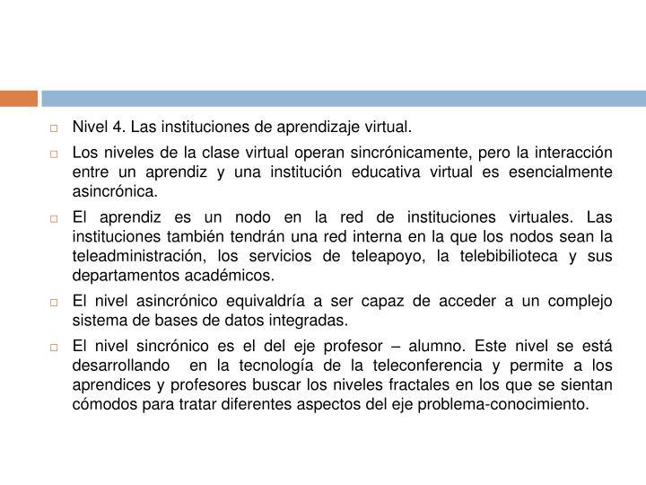 Nivel 4. Las instituciones de aprendizaje virtual.