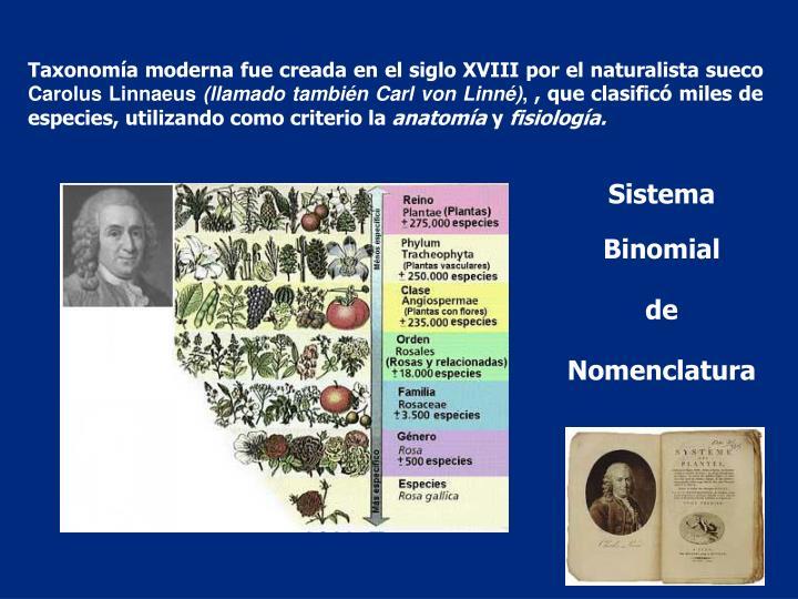Taxonomía moderna fue creada en el siglo XVIII por el naturalista sueco