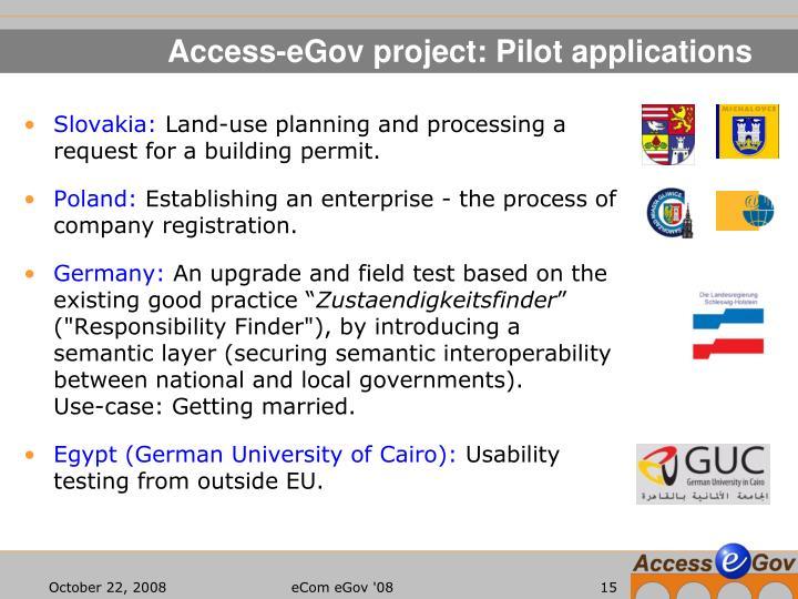 Access-eGov project: Pilot applications