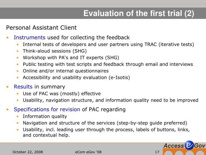Evaluation of the first trial (2)
