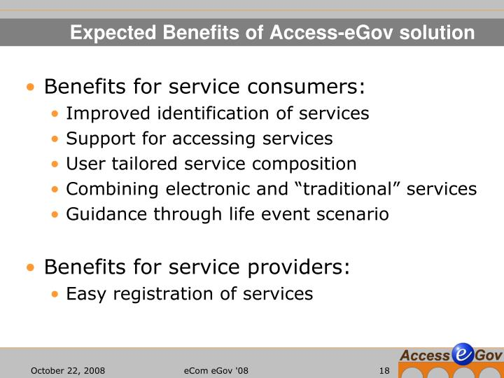 Expected Benefits of Access-eGov solution