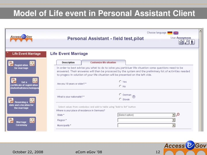 Model of Life event in Personal Assistant Client