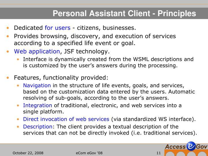 Personal Assistant Client - Principles
