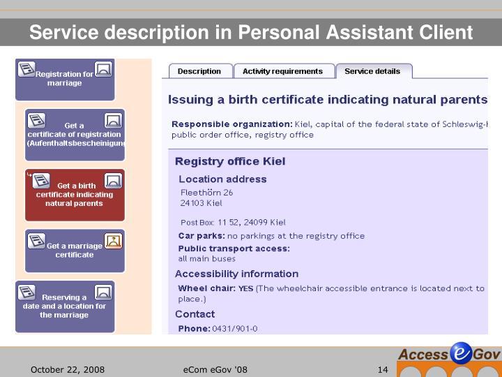 Service description in Personal Assistant Client