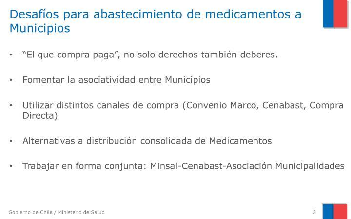 Desafíos para abastecimiento de medicamentos a Municipios