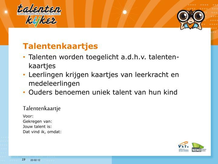 Talentenkaartjes