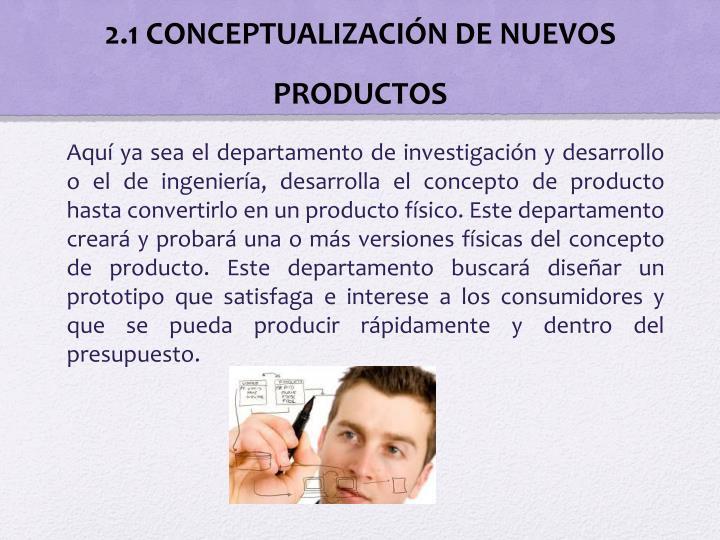 2.1 CONCEPTUALIZACIÓN DE NUEVOS PRODUCTOS