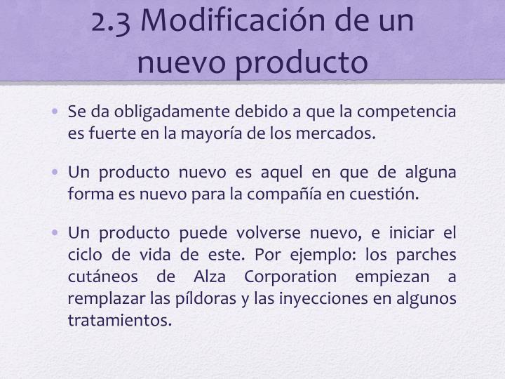 2.3 Modificación de un nuevo producto
