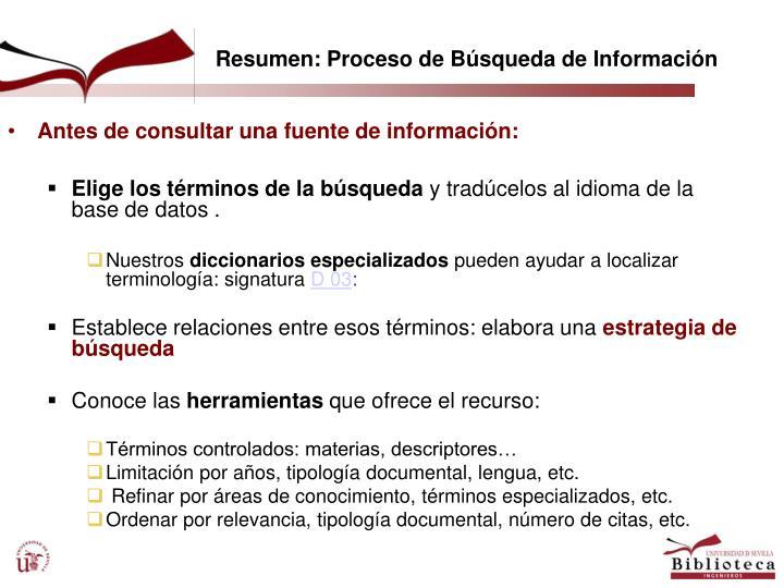 Antes de consultar una fuente de información: