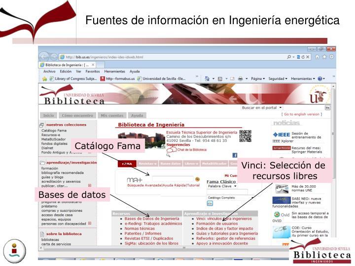Fuentes de información en Ingeniería energética