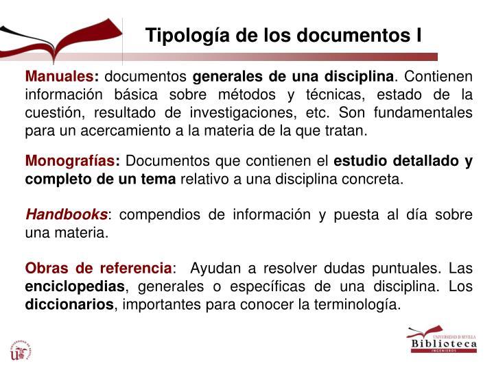 Tipología de los documentos I