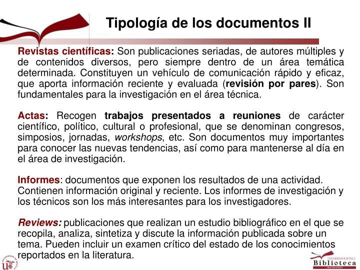 Tipología de los documentos II