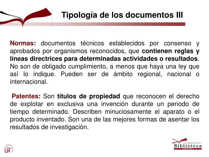 Tipología de los documentos III