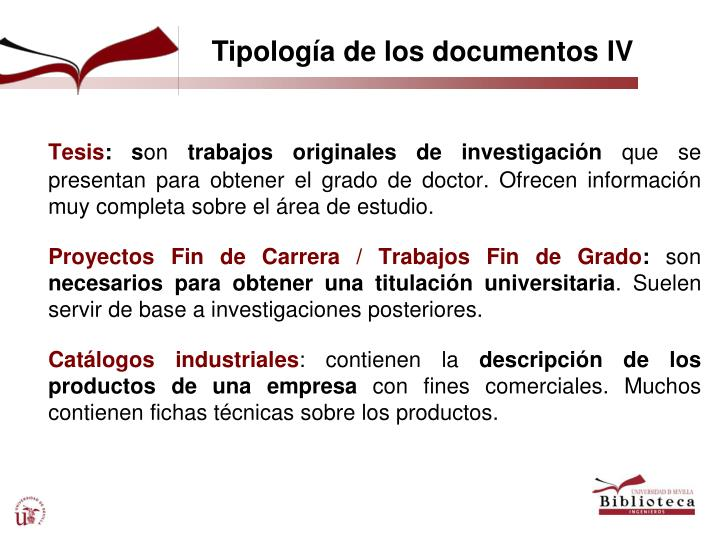 Tipología de los documentos IV