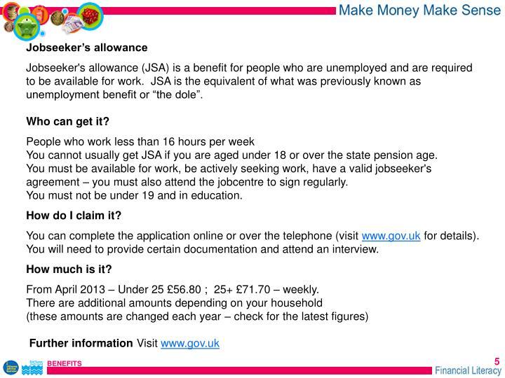 Jobseeker's allowance