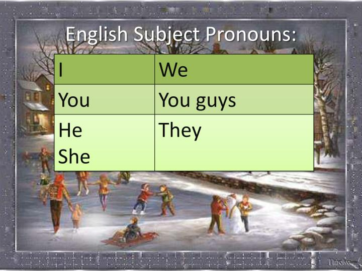 English Subject Pronouns: