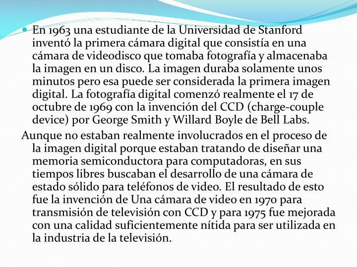 En 1963 una estudiante de la Universidad de