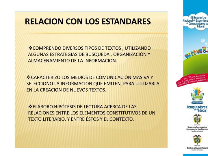 RELACION CON LOS ESTANDARES