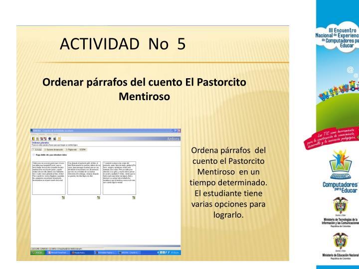ACTIVIDAD  No  5