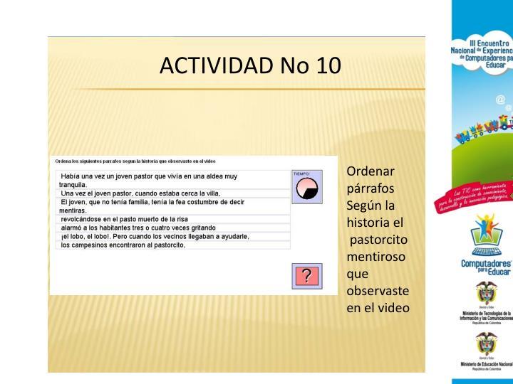 ACTIVIDAD No 10