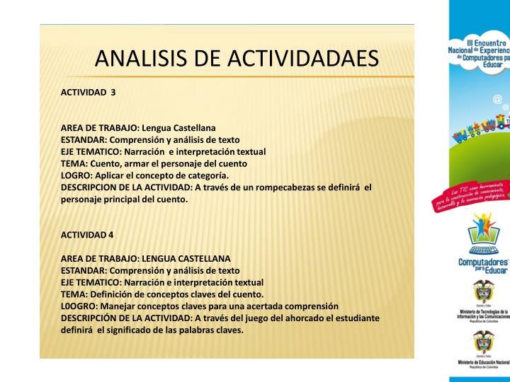 ANALISIS DE ACTIVIDADAES