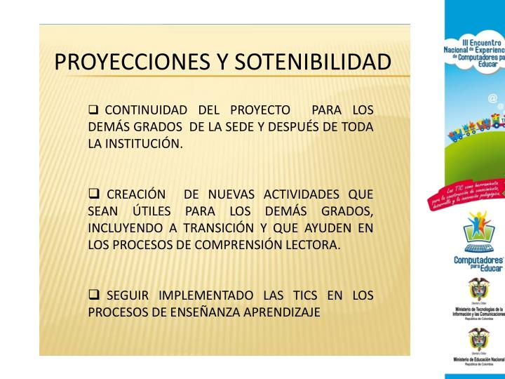 PROYECCIONES Y SOTENIBILIDAD