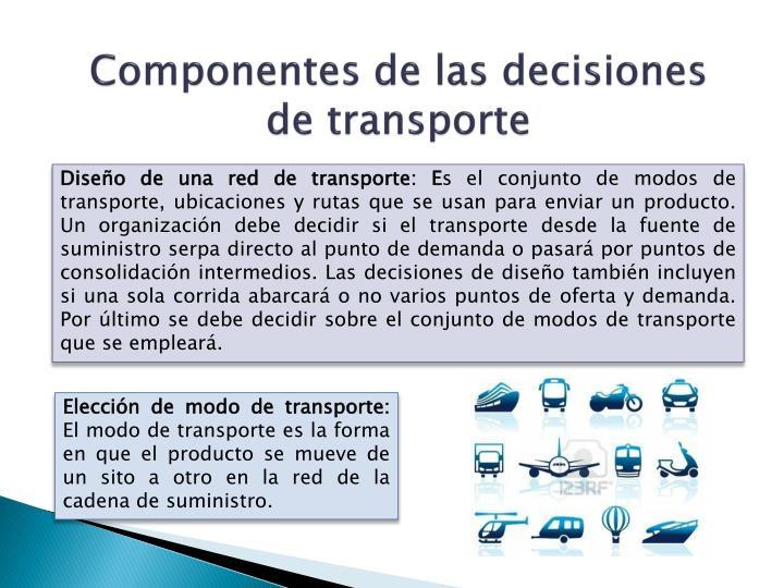 Componentes de las decisiones de transporte
