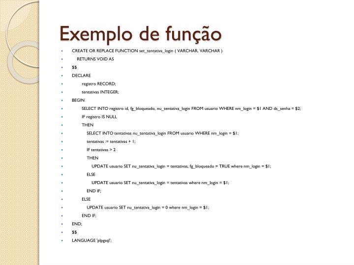 Exemplo de função