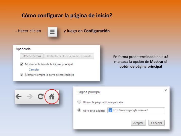 Cómo configurar la página de inicio?