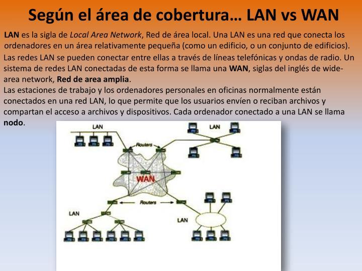 Según el área de cobertura… LAN vs WAN