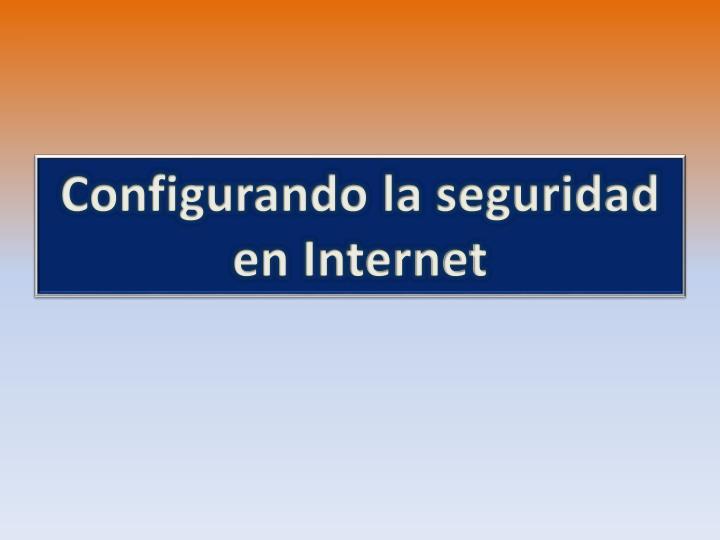 Configurando la seguridad en Internet