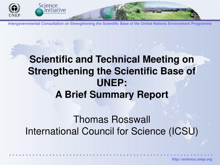 Scientific and Technical Meeting on Strengthening the Scientific Base of UNEP: