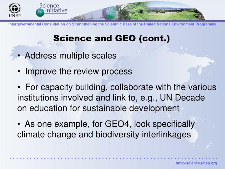 Science and GEO (cont.)
