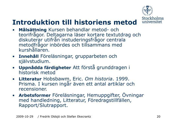 Introduktion till historiens metod