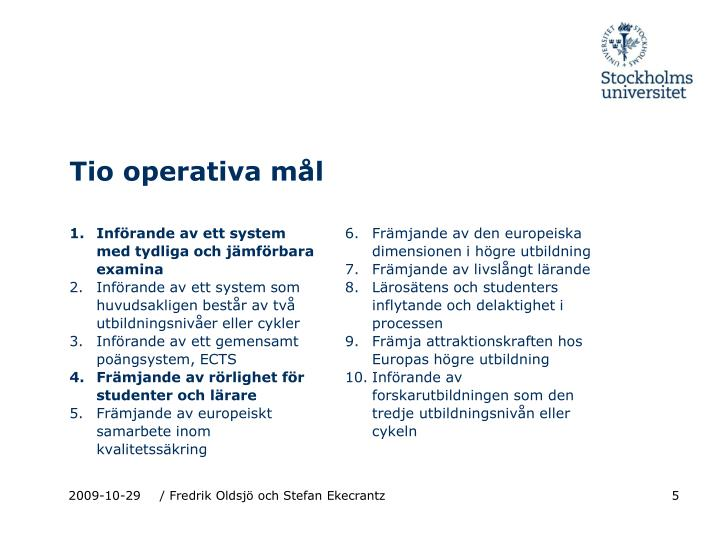 Tio operativa mål