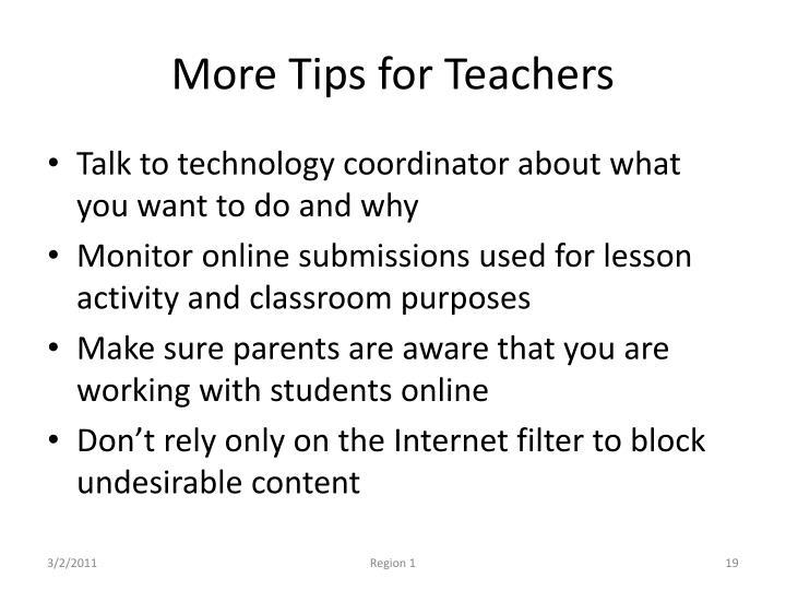 More Tips for Teachers