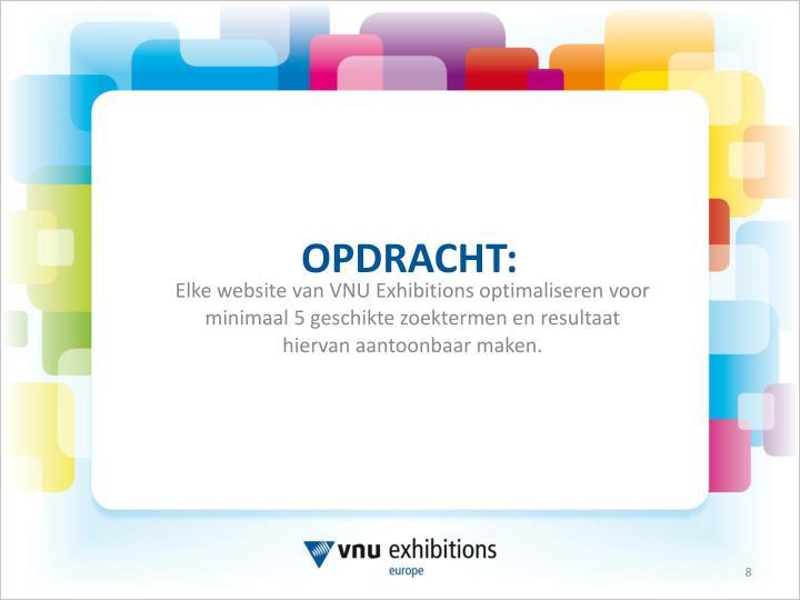 Elke website van VNU Exhibitions optimaliseren voor minimaal 5 geschikte zoektermen en resultaat