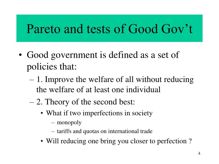 Pareto and tests of Good Gov't