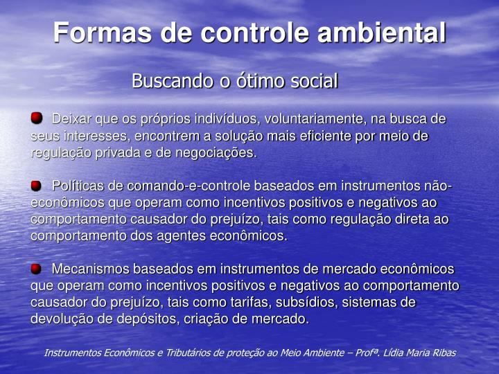 Formas de controle ambiental